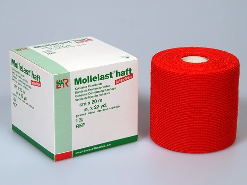 Mollelast haft color 8cmx20m, latexfrei, rot, 1 Stck., PZN 09885980